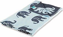 Kinderdecke Dumbo mit süßem Elefanten Motiv | Öko-Tex zertifiziert | kuschelige Decke aus Baumwolle | Größe wählbar (100x120 cm) Baumwolldecke - Kuscheldecke