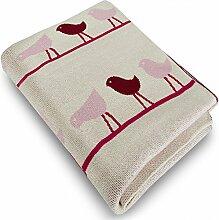 Kinderdecke mit süßem Vogel Motiv | Öko-Tex zertifiziert | kuschelige Decke aus Baumwolle | Größe wählbar (80x100 cm) Baumwolldecke - Kuscheldecke