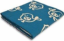 Kinderdecke Tweet mit süßem Vogel Motiv | Öko-Tex zertifiziert | kuschelige Decke aus Baumwolle | Größe wählbar (80x100 cm) Baumwolldecke - Kuscheldecke