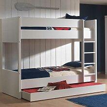 Kinderetagenbett in Weiß Bettkasten