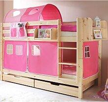 Kinderetagenbett mit rosa Vorhängen Kiefer