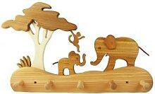 Kindergarderobe aus Holz, Elefanten