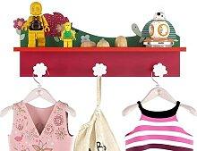 Kindergarderobe mit 3 Haken und 1 Fächer für