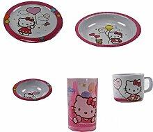 Kindergeschirr Set Melamingeschirr Geschirr Melamin Winnie Pooh Cars Hello Kitty Minnie Mouse NEU, Motiv:Hello KItty