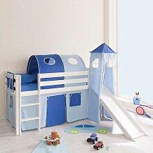 Kinderhochbett in Weiß Blau Blau-Weiß
