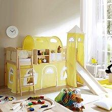 Kinderhochbett mit Rutsche Kiefer Massivholz
