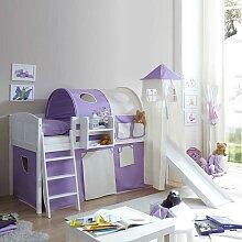 Kinderhochbett mit Rutsche lila
