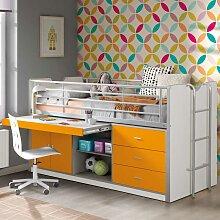 Kinderhochbett mit Schreibtischplatte Weiß