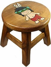 Kinderhocker ''Indianer'' aus Holz, Ø ca. 25 cm, Kinderstuhl mit Motiv