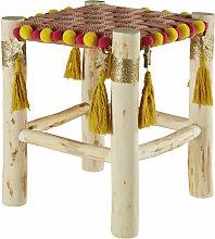 Kinderhocker aus Pappelholz mit Pompons