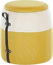 Kinderhocker Gelb Polsterbezug Cord mit Stauraum