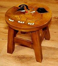 Kinderhocker mit Lustigen Motiven, Holzhocker für Kleinkinder, Kinderstuhl aus Massivholz (lachender Elefant)