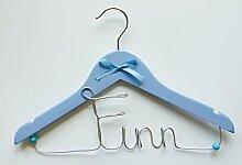 Kinderkleiderbügel mit Namen personalisierbar (blau)