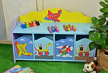 Kinderkommode Kinderbank Kinderzimmer Kinderregal Blau Autos Schiffe Mini Turbo
