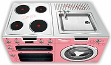 Kinderküche (rosa) Möbelfolie / Aufkleber - SKK03 - für die Banktruhe STUVA von IKEA (Möbel nicht inklusive!)