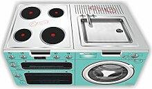 Kinderküche (türkis) Möbelfolie / Aufkleber - SKK02 - für die Banktruhe STUVA von IKEA (Möbel nicht inklusive!)
