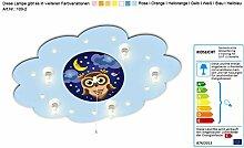 Kinderlampe mit Motiv Eule, Mond und Wolken mit Kindernachtlicht / Farbe: Hellblau (auch in anderen Farben erhältlich) Kinderzimmerlampe Deckenlampe Kinderlampe Babylampe mit Nachtlich