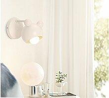 Kinderlampe Wand Metall Wandleuchte Kinder Nachttischlampe Wandlampe E27 Warmweiß 3000K schwenkbar Leselampe Schlummerlampe für Kinderzimmer Wohnzimmer Schlafzimmer Korridor Gang Balkon (weiß)