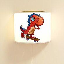 Kinderlampe Wandlampe Dino auf Skateboard Lampe