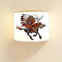 Kinderlampe Wandlampe Indianer auf Pferd Lampe