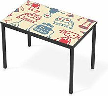 Kindermöbel Design für IKEA Tärendö Tisch 110x67 cm | Möbel-Tattoo Klebefolie | Deko Ideen IKEA Möbel für Kinder-Zimmer Raumgestaltung | Kids Kinder Crazy Robots