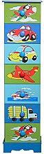 Kindermöbel Schrank Blau Kommode Regal Säule Mini Turbo Flugzeuge Fahrzeuge