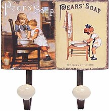 Kindermotive Metall Garderobenhaken Vintage 2er Hakenleiste Retro Seifenwerbung