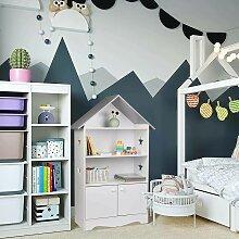 Kinderregal für Bücher mit Türen, Sterne & Dach