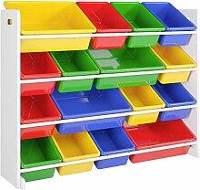 Kinderregal Spielzeugregal mit 16 Kunststoffboxen