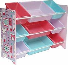 Kinderregal Spielzeugregal mit 9 Boxen Kinder
