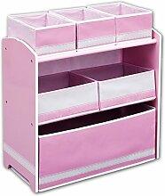 Kinderregal - Standregal - Spielzeugregal - Aufbewahrungsregal 6 Boxen mit Farbauswahl (weiß/rosa)