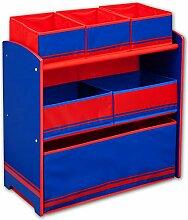 Kinderregal - Standregal - Spielzeugregal - Aufbewahrungsregal 6 Boxen mit Farbauswahl (rot/blau)