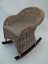 Kinderschaukelstuhl, Schaukelstuhl Rattan und Holz, exklusiv, mit Kissen