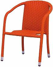 Kindersessel MINI für Innen und Außen, Metall + Geflecht orange, 40x38x55cm