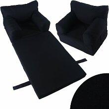 Kindersessel Sessel Kinder Couch Kinderzimmer Sofa Kindersofa Kindermöbel Klappmatratze (schwarz)