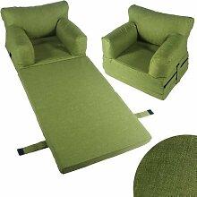 Kindersessel Sessel Kinder Couch Kinderzimmer Sofa Kindersofa Kindermöbel Klappmatratze (grün)