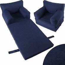 Kindersessel Sessel Kinder Couch Kinderzimmer Sofa Kindersofa Kindermöbel Klappmatratze (blau)