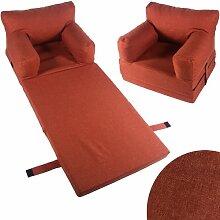 Kindersessel Sessel Kinder Couch Kinderzimmer Sofa Kindersofa Kindermöbel Klappmatratze (teracotta)