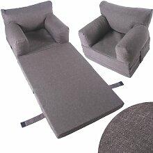 Kindersessel Sessel Kinder Couch Kinderzimmer Sofa Kindersofa Kindermöbel Klappmatratze (hellgrau)