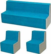 Kindersitzgruppe: 2xKinderstuhl+Sitzbank Kinderzimmermöbel Spiel-Set Ruheecke (Farbe: blau-beige)