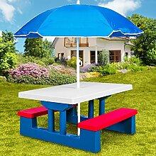 Kindersitzgruppe inkl. Sonnenschirm - Kinder Sitzgruppe Kinderbank Kindermöbel Kindergartenmöbel Gartenmöbel Picknickgruppe 2 Bänke + Tisch