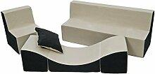 Kindersitzgruppe: Kinderstuhl+Sitzbank+Liegestuhl Kinderzimmermöbel Spiel-Set (Farbe: beige-grau)