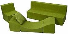 Kindersitzgruppe: Kinderstuhl+Sitzbank+Liegestuhl Kinderzimmermöbel Spiel-Set (Farbe: grün)