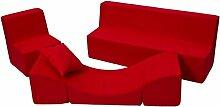 Kindersitzgruppe: Kinderstuhl+Sitzbank+Liegestuhl Kinderzimmermöbel Spiel-Set (Farbe: rot)