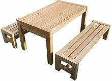 Kindersitzgruppe Sarina mit Tisch 2x Bank aus Holz massiv Lärche Kindermöbel in Premiumqualitä