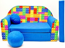 Kindersofa Bettfunktion 3in1 Sofa (Kindersessel Ausziehbett Bett) C32 Bausteine