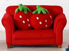 Kindersofa Stoff Erdbeere