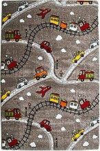 Kinderspielteppich Kinderteppich Spielteppich MOMO | Taupe | Spielstraßenmotiv | 133x190 cm | Polypropylen