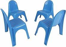 Kinderstühle 4er Set Stapelstühle Gartenstühle Stuhl Kleinkind Sitz Kindermöbel, Farbe:blau