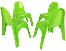 Kinderstühle 4er Set Stapelstühle Gartenstühle Stuhl Kleinkind Sitz Kindermöbel, Farbe:Grün
